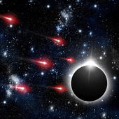 Comet and solar eclipse in the night sky — Stock Photo