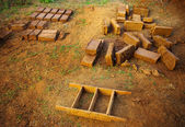 Clay brick for build the clay house — Stock Photo