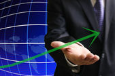Inversores muestran el crecimiento hasta gráfico de negocios — Foto de Stock
