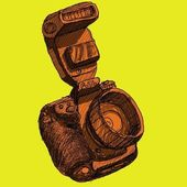 Digital SLR camera sketchs with color background — Stock Photo