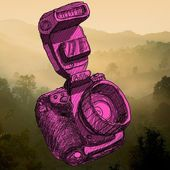 Digital SLR camera sketchs with nice landscape background — ストック写真