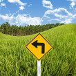 Turn left sign with rice field, Travel in countryside concept — Stock Photo