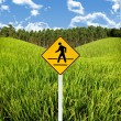 Stock Photo: Crossroad sign with landscape background, Travel in countryside concept