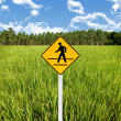 Travel in countryside concept, Crossroad sign with rice field — Stockfoto