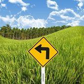 田んぼと左の記号をオンに、田舎の概念旅行 — ストック写真