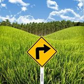 Travel in countryside concept, Turn right sign with rice field — Stock Photo