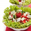 Green salad with cucumber, zucchini and strawberries — Stock Photo #11074483