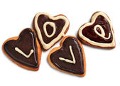 Cookies in the shape of a heart — Stock Photo