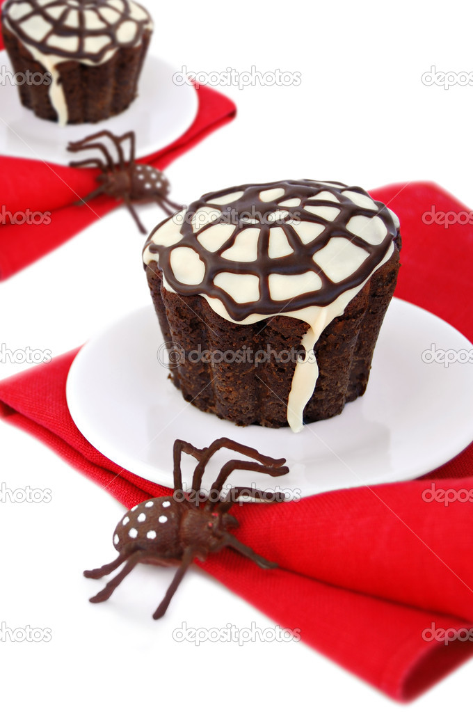 Halloween cupcake with a  spider web and spider — Stock Photo #12077033