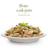 Makaron z sosem pesto — Zdjęcie stockowe