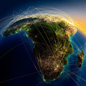 Main air routes in Africa and Madagascar — Foto Stock