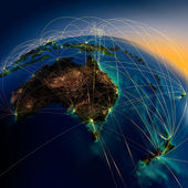 Main air routes in Australia and New Zealand — Stock Photo