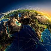 Belangrijkste luchtroutes in het midden-oosten en india — Stockfoto