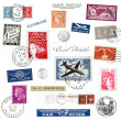 Postage stamps and labels from France — Stock Photo
