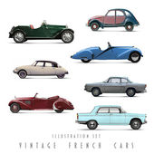 Illustration Set Vintage French cars — Stock Photo