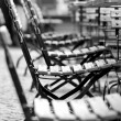 Empty chairs in beer garden — Stock Photo