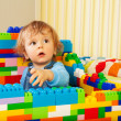 Kid playing construction - Stock Photo