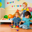 Kids playing on birthday party — Stock Photo