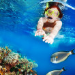Swimming with the fishes - Stock Photo