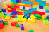 Wall made of toy blocks — Stock Photo