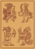 Four American Indians maya — Stock Vector