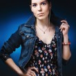 Woman in jeans gown — Stock Photo #10740604