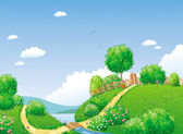 Rural landscape — Vector de stock