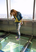 Girl in observatory of tele tower — Stock Photo