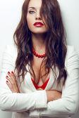 Closeup portrait of sexual brunette woman — Stock Photo