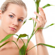 Beautiful blond touches bamboo — Stock Photo