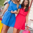 Two women with shopping bags — Stock Photo #11928631