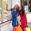 Two women looking at windows — Stock Photo