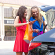 Two girls are piling the bags in the car — Stock Photo #11928754