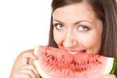 Brunette woman holding watermelon — Stock Photo