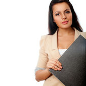 Beautiful woman holding file — Stock Photo