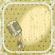 Retro background with microphone — Stock Vector