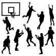 Stock Vector: Female basketball silhouettes