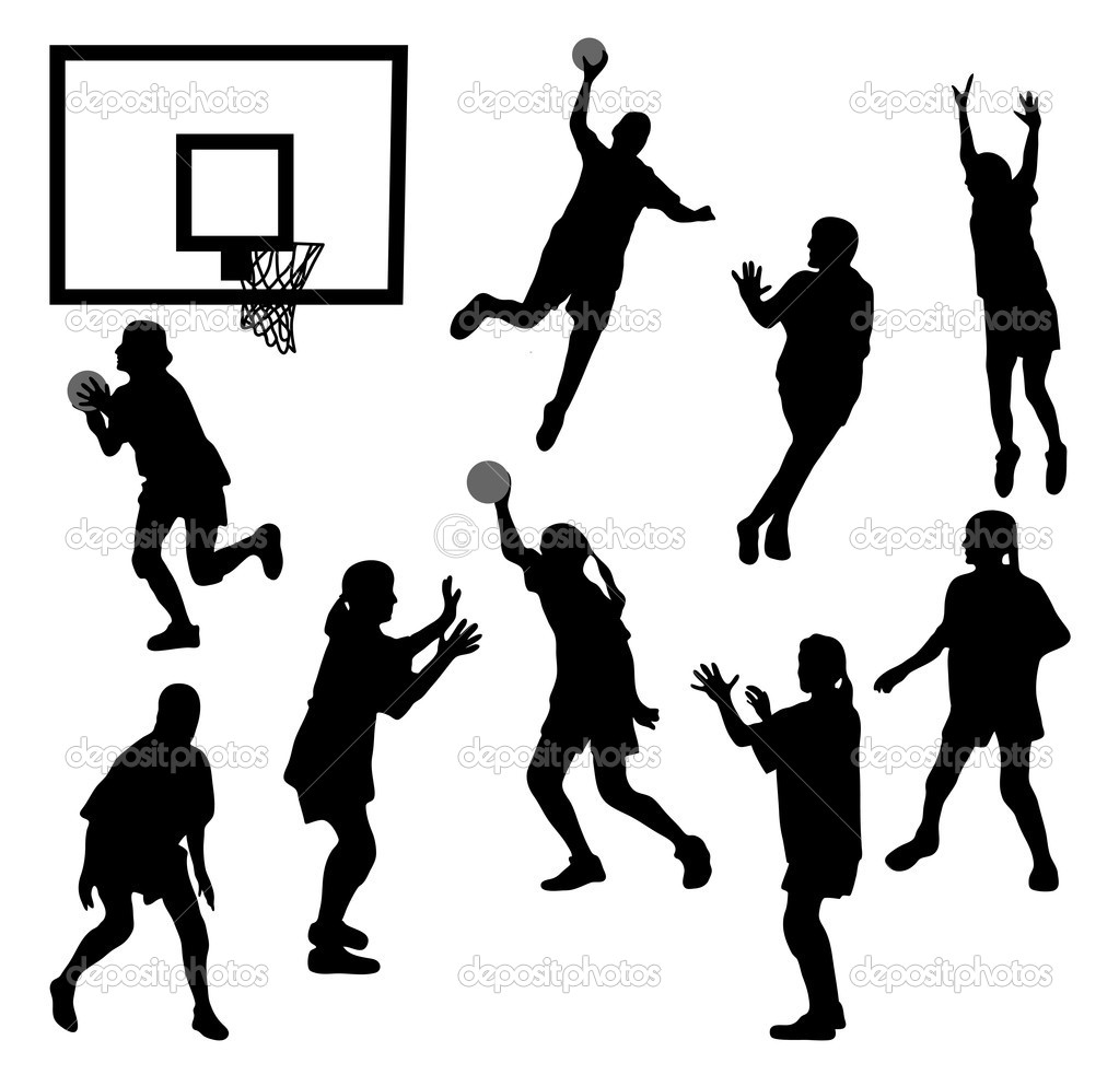Download female basketball silhouettes stock illustration