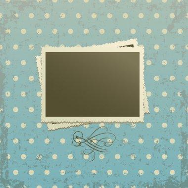 Photo frame on retro pattern