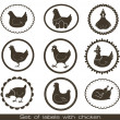 Stock Vector: Set of labels with chicken.
