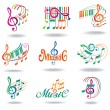Colorful music notes. Set of music design elements or icons. — Stock Vector