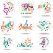 Colorful music notes. Set of music design elements or icons. — Stock Vector #11037071