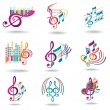 Colorful music notes. Set of music design elements or icons. — Vector de stock