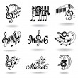 Music notes. Set of music design elements or icons. — Stockvectorbeeld