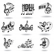 Music notes. Set of music design elements or icons. — Vettoriali Stock