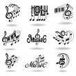 Notas de la música. conjunto de elementos de diseño la música o los iconos — Vector de stock