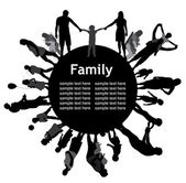 Frame with family silhouettes. — Stock Vector