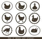 与鸡标签集. — 图库矢量图片