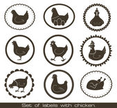 Set of labels with chicken. — 图库矢量图片