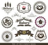 Vintage retro bäckerei etiketten — Stockvektor